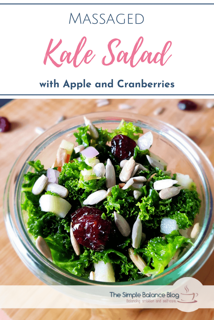 If you love kale but don't care for the scratchy leaves of curly kale, this recipe for massaged kale salad with cranberries is for you! This healthy salad will quickly become a favourite, whether you look for weight loss or just pure deliciousness. It is easy, can be vegan or served with optional blue cheese for extra protein. #salad #kale #delicious #cranberries #festive