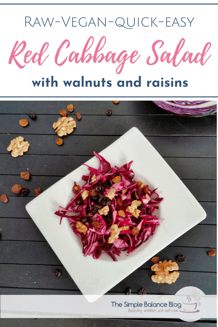If you only know red cabbage as a cooked side vegetable, you have been missing out. This salad uses raw red cabbage, which makes for a delicious mix with the sweetness of the raisins and the crunchiness of the walnuts. And it's vegan, too. #salad #cabbage #raw #vegan #delicious