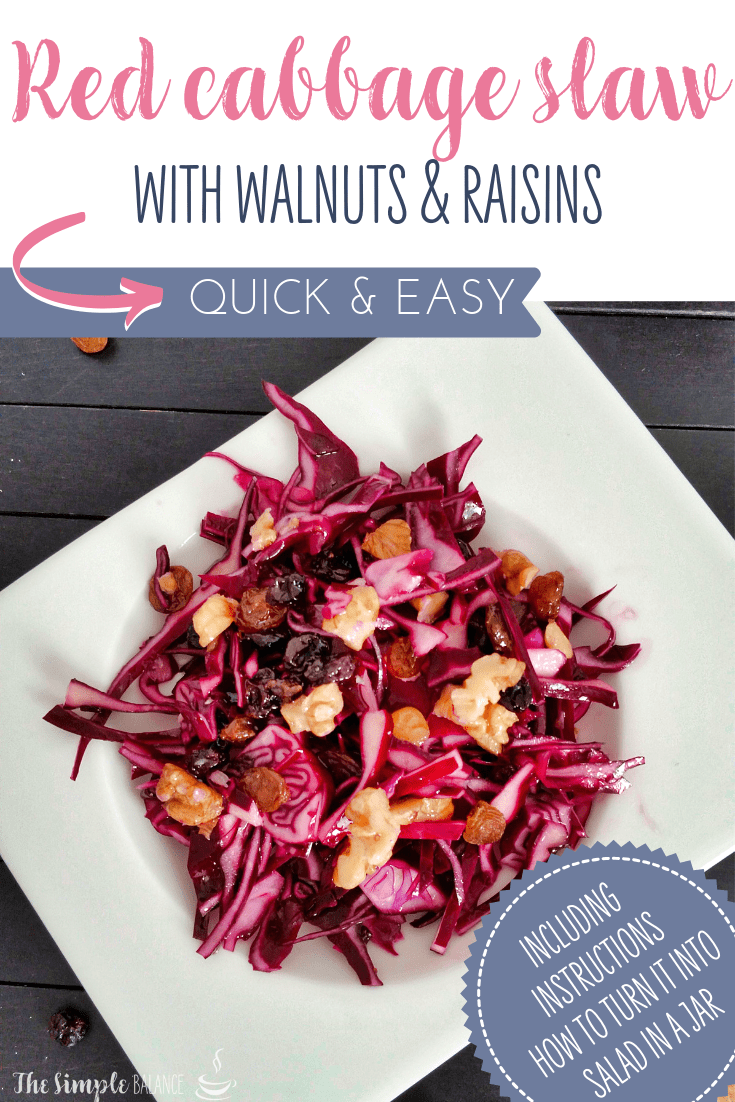 Red cabbage slaw with walnuts and raisins 5