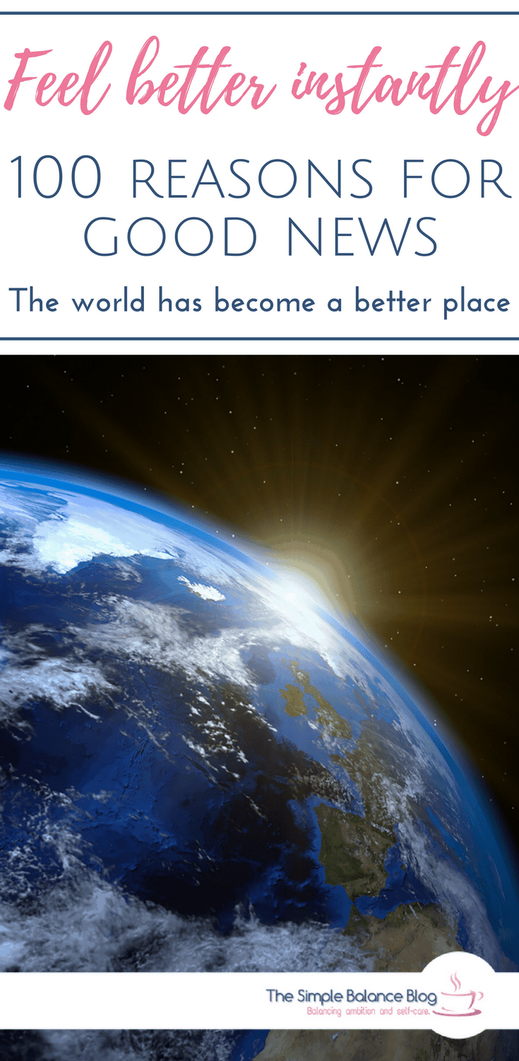 """Image of earth with rising sun. Text:!100 reasons for good news. Why the world has become a better place."""""""