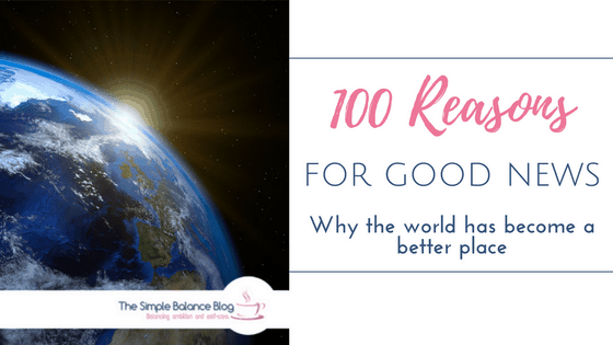 Image of earth with rising sun. Text:!100 reasons for good news. Why the world has become a better place.""