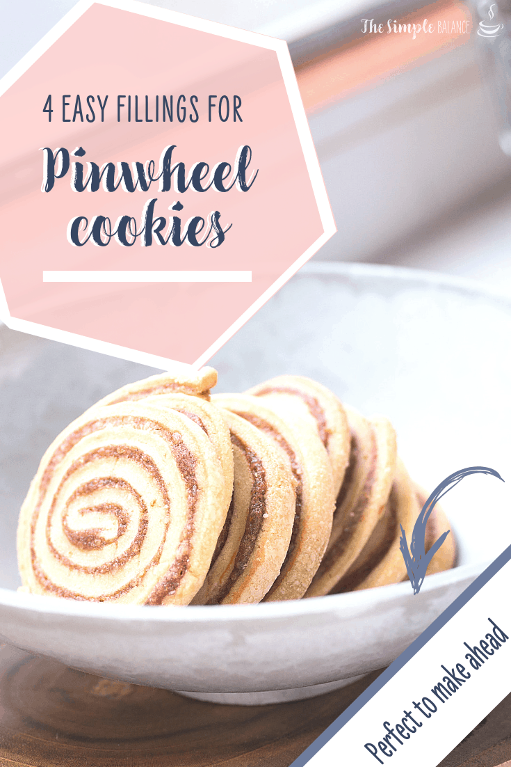 Pinwheel cookies look gorgeous and can be easy to make with these four fillings. Coconut chocolate pinwheels, pistaccio-marzipan, jam-granola or brown sugar cinnamon pinwheel cookies will be done quickly. They are perfect for Christmas season to prep ahead of time and keep in the freezer. #pinwheel #cookies #christmas #baking #tipsandtricks #hacks #cookiedough