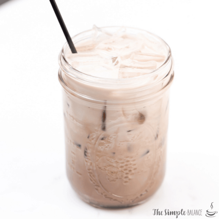Iced latte in glass jar
