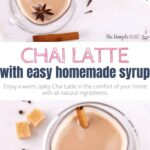 This recipe will give you a creamy and spicy Chai Latte like the one you love at Starbucks. It's super easy and uses a homemade syrup made with all-natural ingredients and honey. No need to make your Chai from scratch every time you'd like a cozy comfort drink. With this concentrate, you'll whip up a steaming cup of Chai tea in minutes - for a perfect everyday indulgence. And with your choice of milk, it's as healthy as you want it to be. #copycat #mix #fall #winter #drinks